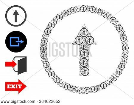 Vector Rounded Arrow Up Composition Is Constructed Of Repeating Self Rounded Arrow Up Icons. Fractal