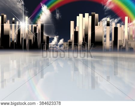 Heavenly city and rainbow. 3D rendering
