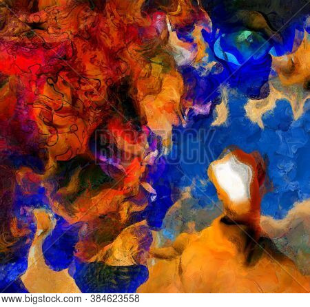 Surreal painting. Man with open door instead of face. Melting dimensions and puzzle pattern. Eye of God. 3D rendering