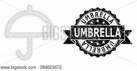 Umbrella Unclean Seal Print And Vector Umbrella Mesh Structure. Black Stamp Seal Includes Umbrella T