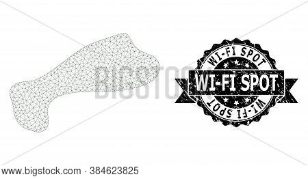 Wi-fi Spot Corroded Stamp Seal And Vector Spot Mesh Model. Black Stamp Seal Has Wi-fi Spot Caption I