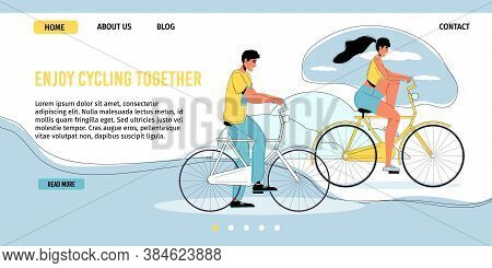 Young Loving Couple Enjoy Cycling Together Outdoor. Man Woman Riding Bicycle. Eco Tour On Summer Vac