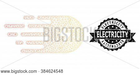 Electricity Grunge Stamp And Vector Electricity Mesh Model. Black Stamp Seal Has Electricity Title I