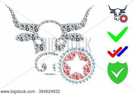 Vector Cow Stamp Composition Is Designed Of Randomized Recursive Cow Stamp Icons. Recursive Composit