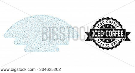 Iced Coffee Scratched Stamp And Vector Ice Hill Mesh Model. Black Stamp Includes Iced Coffee Tag Ins