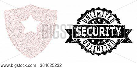 Unlimited Security Dirty Seal Print And Vector Guard Shield Mesh Structure. Black Seal Contains Unli