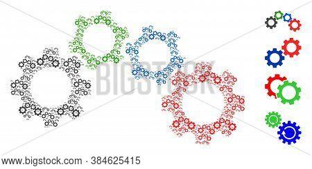 Vector Cogwheel Mechanism Mosaic Is Created Of Scattered Self Cogwheel Mechanism Icons. Recursive Mo