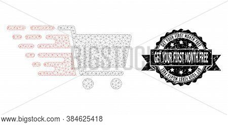 Get Your First Month Free Rubber Seal Print And Vector Supermarket Cart Mesh Model. Black Stamp Seal