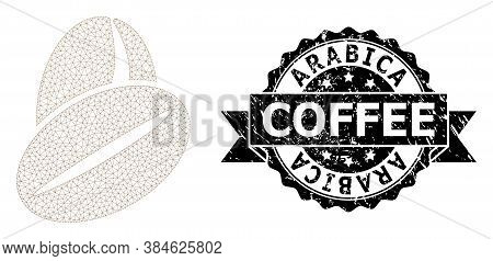 Arabica Coffee Dirty Seal Imitation And Vector Cacao Beans Mesh Model. Black Stamp Seal Contains Ara