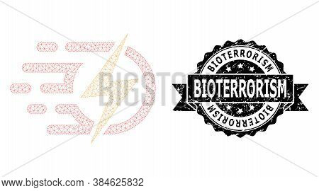 Bioterrorism Grunge Seal Print And Vector Electric Voltage Mesh Structure. Black Stamp Includes Biot
