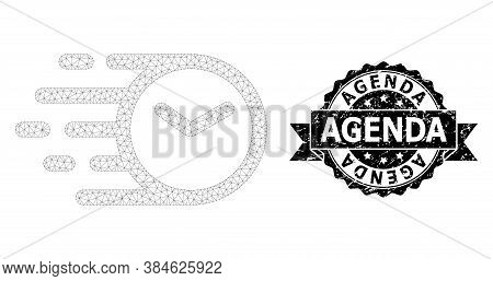 Agenda Scratched Seal Print And Vector Clock Mesh Model. Black Seal Contains Agenda Text Inside Ribb