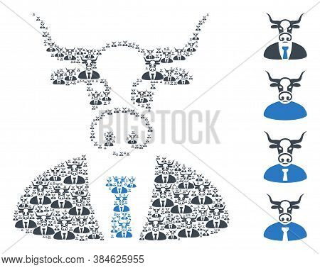Vector Bull Boss Mosaic Is Designed With Scattered Recursive Bull Boss Items. Recursive Composition