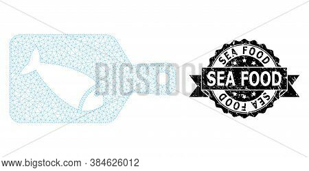 Sea Food Rubber Stamp Seal And Vector Fish Cutting Board Mesh Model. Black Stamp Seal Has Sea Food T