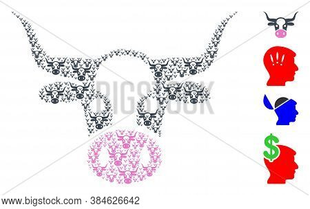 Vector Cow Head Composition Is Designed Of Repeating Recursive Cow Head Parts. Recursive Composition
