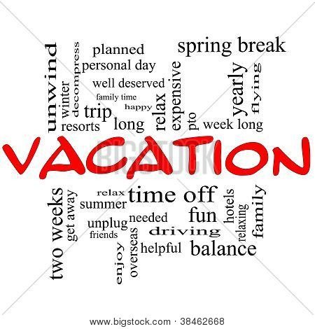 Vacation Word Cloud Concept in Red and Black with great terms such as relax summer fun yearly and more. poster