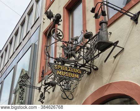 Sign That Says Toy Museum In German, Located In Trier, Rhineland-palatinate, Germany - September 1,