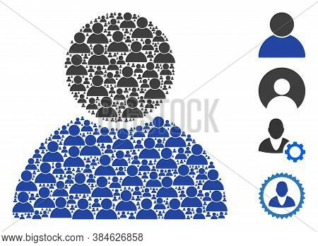 Vector Customer Profile Collage Is Organized Of Repeating Recursive Customer Profile Icons. Recursiv
