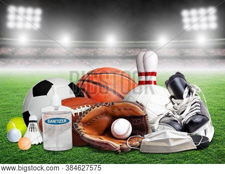 Covid-19 Coronavirus New Normal And Sports Concept Showing Sports Equipment, Rackets And Balls With