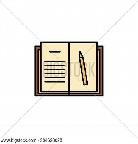 Homework, Book, Pencil Icon. Element Of Education Illustration. Signs And Symbols Can Be Used For We