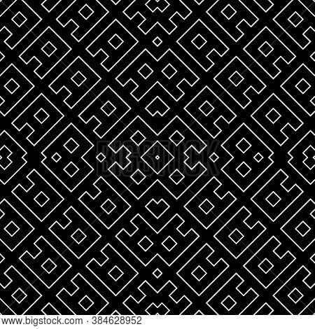 Repeated White Ornamental Sign Composition. Seamless Surface Pattern Design With Ethnic Ornament. Em