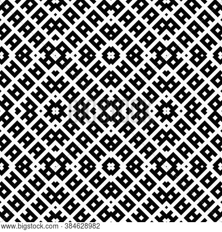 Repeated Black Ornamental Sign Composition. Seamless Surface Pattern Design With Ethnic Ornament. Em