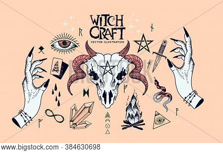 A Collection Of Witchcraft Signs And Traditional Symbols. Hand Craft Elements With Crystals, A Ram S