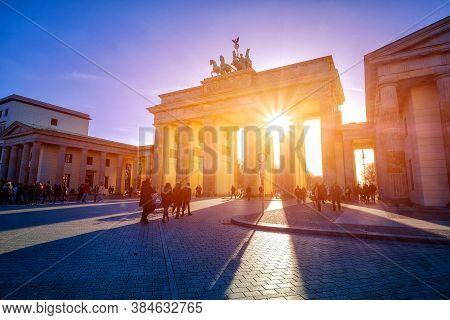 Berlin, Germany - March 24, 2017: People Admire Brandenburg Gate (brandenburger Tor) In 24 March 201