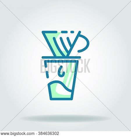 Logo Or Symbol Of Coffe Maker Icon With Twotone Blue Color Style