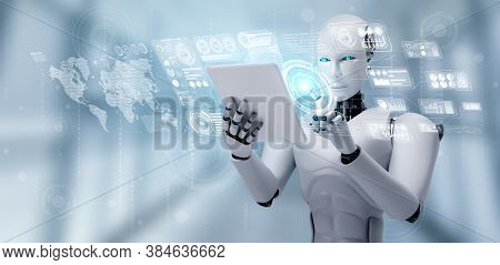 Robot Humanoid Using Tablet Computer For Big Data Analytic Using Ai Thinking Brain , Artificial Inte