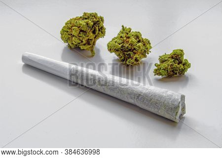 A Pre-roll Medicinal Cannabis Joint On A White Surface With 3 Flowers Of Cannabis On The Background