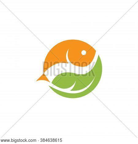 Aquatic Fish Circle Simple Nature Leaf Logo