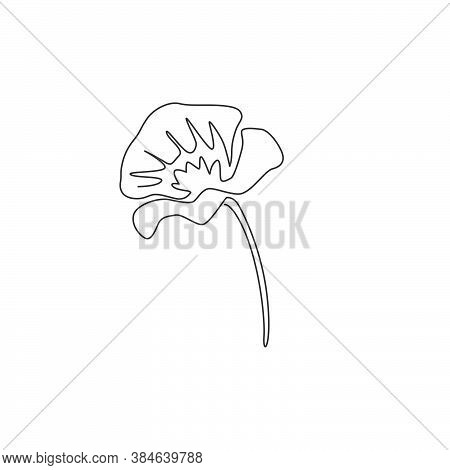 Single Continuous Line Drawing Of Beauty Fresh Flowering Plant For Poster Wall Decor Home Art. Print