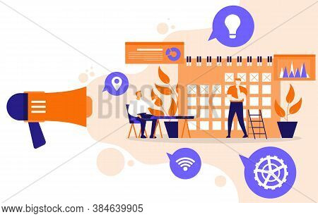 Calendar People Digital Marketing Commerce Mobile Web Analysis Illustration