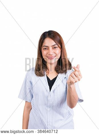 Woman Dental Braces Smile Showing Mini Heart Sign On White Background