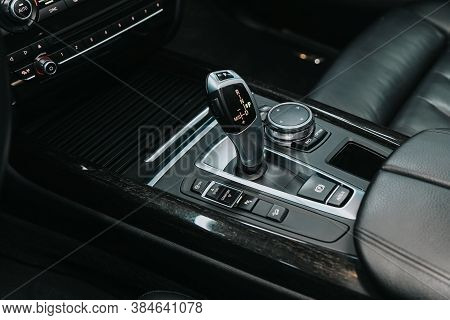 Novosibirsk, Russia - September 05, 2020: Bmw X5, Close Up Of The Manual Gearbox Transmission Handle