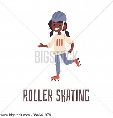 Cartoon Girl Roller Skating In Sport Helmet. Cute African Child