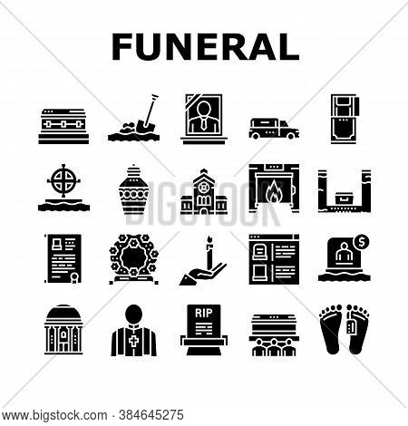 Funeral Burial Service Collection Icons Set Vector. Church And Priest, Grave And Coffin, Candle And