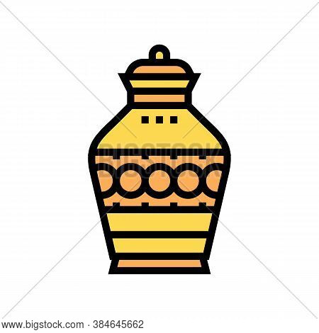 Funeral Urn Color Icon Vector. Funeral Urn Sign. Isolated Symbol Illustration