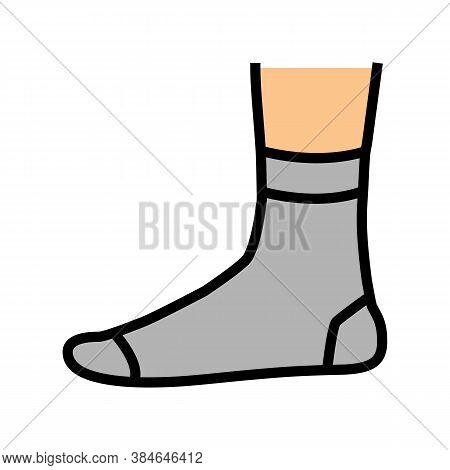Quarter Sock Color Icon Vector. Quarter Sock Sign. Isolated Symbol Illustration