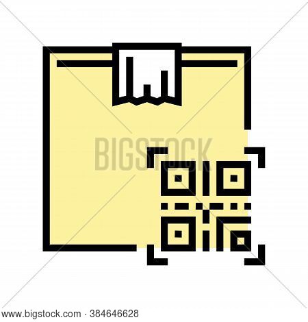 Box Delivery Individual Qr Code Color Icon Vector. Box Delivery Individual Qr Code Sign. Isolated Sy
