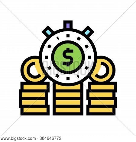 Watchstop Investment Income Color Icon Vector. Watchstop Investment Income Sign. Isolated Symbol Ill