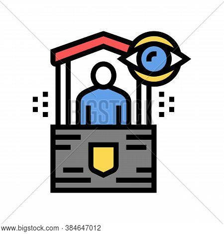 Security Post Color Icon Vector. Security Post Sign. Isolated Symbol Illustration