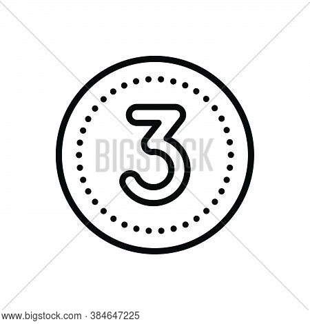 Black Line Icon For Three Digit Mathematical Calculated Numerical Number Letter Count Date