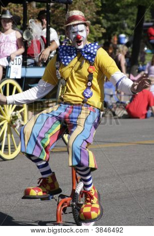Unicycle Clown Mugs For Camera
