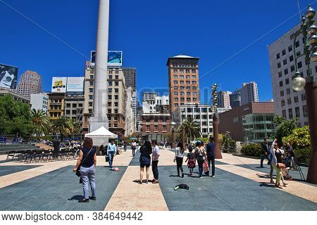 San Francisco / United States - 13 Jul 2017: The Center Of San Francisco City, West Coast, United St