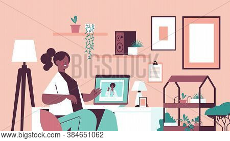 Doctor On Laptop Screen Consulting African American Female Patient Online Consultation Healthcare Se