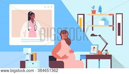 Doctor On Laptop Screen Consulting Pregnant Patient Online Gynecology Consultation Healthcare Servic