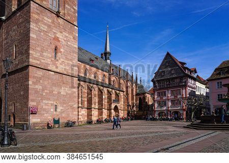 Neustadt, Germany - Mar 15, 2020: Collegiate Church At The Market Square Of Neustadt On The Wine Rou