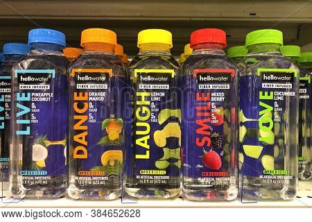 Alameda, Ca - Sept 7, 2020: Grocery Store Shelf With Bottles Of Hello Water Brand. Probiotic Fiber I