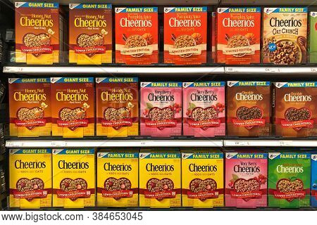 Alameda, Ca - Sept 9, 2020: Grocery Store Shelf With General Mills Brand Cereal, Cheerios. Honey Nut